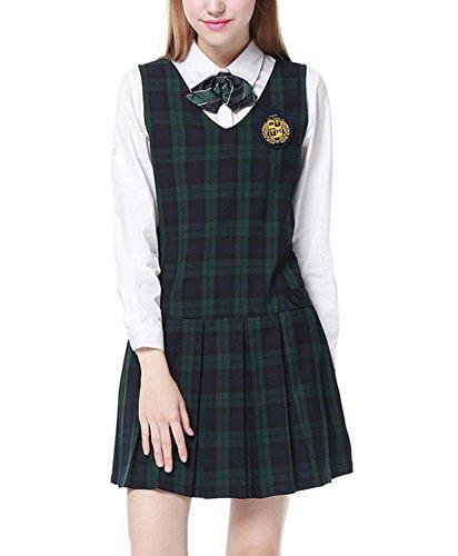 Colyanda Womens Girl's V-Neck Pleated Plaid Jumper Sleeveless Strap Dress(Black (Green Plaid Jumper)