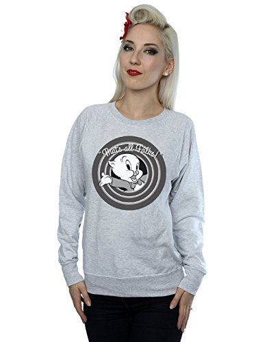 Looney Tunes Women's Porky Pig That's All Folks Sweatshirt Medium Heather Grey