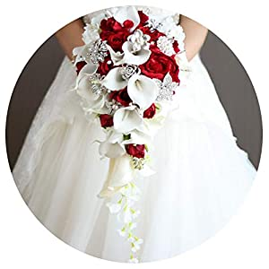 Bridal Wedding Bouquet, Waterfall Red Wedding Flowers Bridal Bouquets Artificial Pearls Crystal Wedding Bouquets Bouquet De Mariage Rose,Red 9