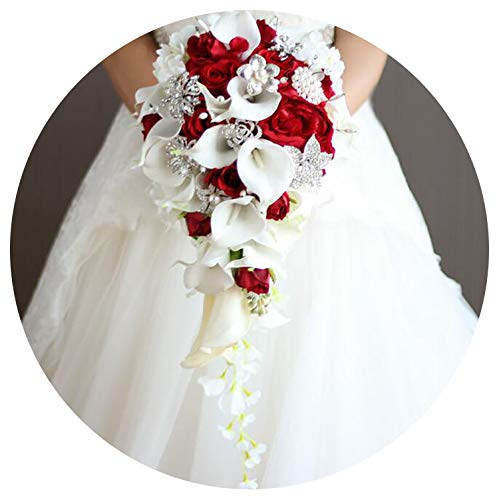 Bridal Wedding Bouquet, Waterfall Red Wedding Flowers Bridal Bouquets Artificial Pearls Crystal Wedding Bouquets Bouquet De Mariage Rose,Red