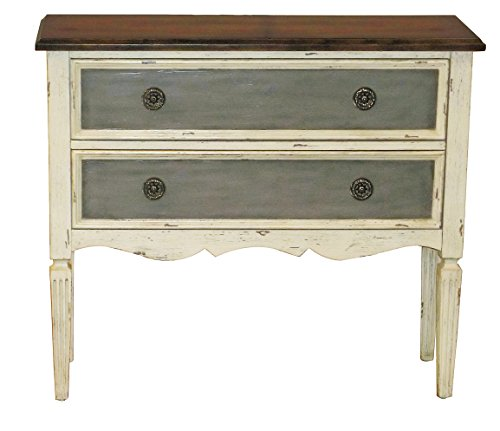 Pulaski DS-P017066 Antique Distressed Accent Hall Drawer Chest, White - Distressed Cherry Finished Top