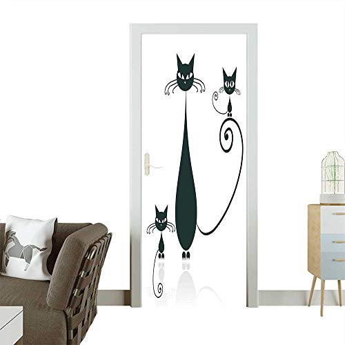 Door Sticker Wall Decals Cat Silhouette Mom and