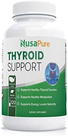 Premium Thyroid Support Supplement (Non-GMO) 120 caps for Hypothyroidism with Ashwaganda, Iodine, Zinc, kelp, Vitamin B12, L-Tyrosine, Selenium, Copper for Thyroid Energy: Boost T4 to T3 Supplement