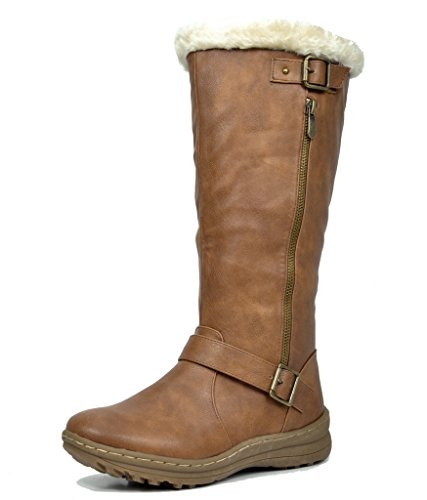 DREAM PAIRS RABBIT Women's Lady Winter Fully Fur Lined Double Buckle Ruched Snow Knee High Boots CAMEL PU-SZ-9