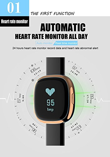 Waterproof Bluetooth Smart Watch with Blood Pressure /Heart Rate / Sleep Monitor Sports Fitness tracker Watch smart band Pedometer for IOS Android Smartphone by Tibang Fitness (Image #1)