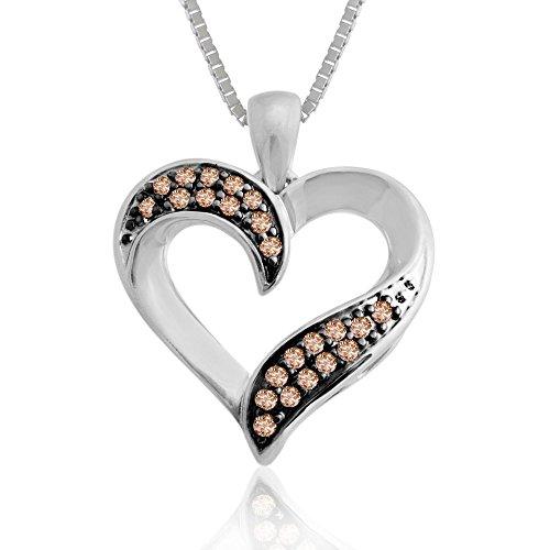 10k White Gold Brown Diamond Heart Pendant Necklace (1/5 Carat)