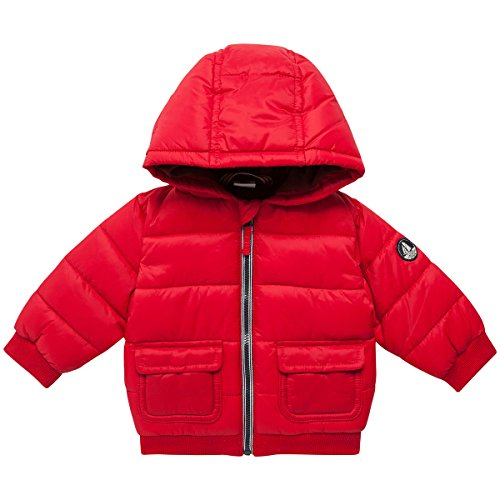 Petit Bateau Baby Boys' Puffy Hooded Coat, Red, 12 Months