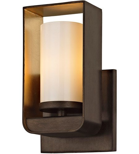 - Bathroom Vanity 1 Light with Bronze and Gold Leaf Finish Hand-Worked Wrought Iron and Glass Material Wedge Base 5 inch Wide 4 Watts
