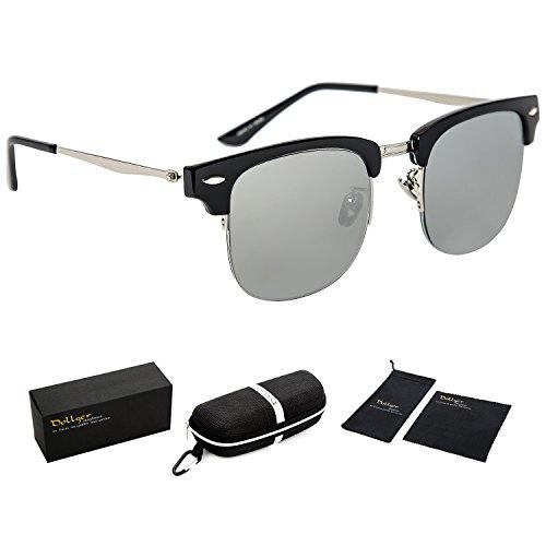 Dollger Classic Polarized Clubmaster Sunglasses Half Frame Horn Rimmed(Silver Lens+ Shiny Black - Sunglasses Rimmed Silver