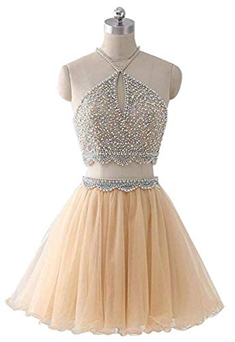 (Two Piece Homecoming Dresses Short Halter Beaded Cocktail Prom Gowns for Junior 2019 Champagne Size 2)