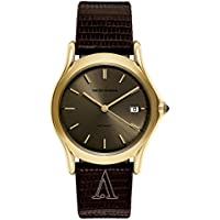 Emporio Armani Swiss Made Men's Quartz Stainless Steel and Leather Dress Watch
