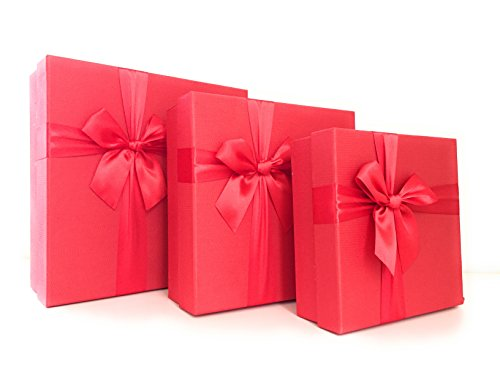 Cypress Lane Square Rigid Gift Box with Ribbon, 11 inches, a Nested Set of 3 (Red)]()