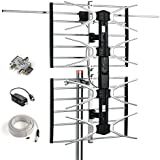 CeKay Outdoor Antenna Digital Antenna HDTV Antenna Amplified TV Antenna for UHF/VHF - 150 Miles Range with Mounting Pole & 40FT RG6 Coaxial Cable - Easy Installation - Support 2TVs