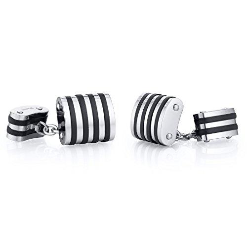 Unique Black Stripe Polished Titanium Chain Style Mens Cufflinks Stripe Chain Link