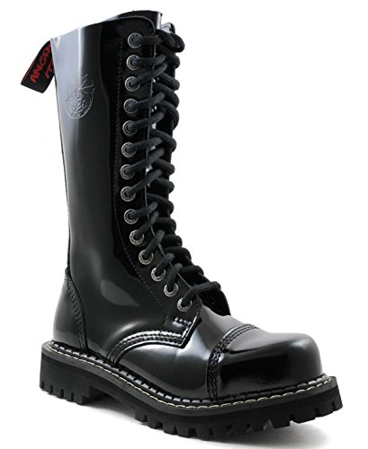 ANGRY ITCH - 14-Loch Gothic Punk Army Ranger Armee Lackleder Stiefel mit Stahlkappe