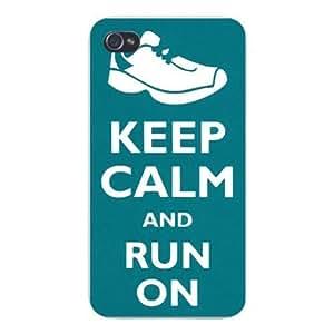 Apple Iphone Custom Case 5 / 5s White Plastic Snap on - Keep Calm and Run On Tennis Shoe