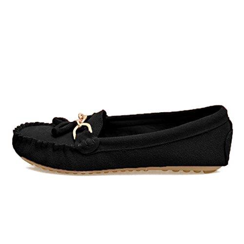 Frosted Quasten Runde Flache Schuhe Black