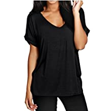 Meaneor Women's Baggy Fit V Neck Turn Up Tunic Tops Loose Basic Shirt