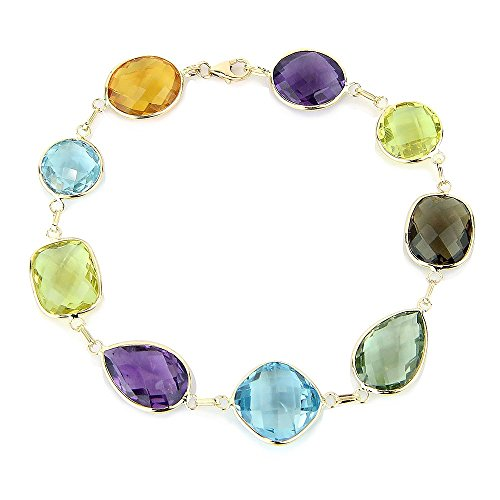 14K Yellow Gold Link Bracelet With Large Gemstone Stations 7-8 Inches