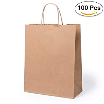 Lote de 100 Bolsas de Papel Kraft 31 x 25 x 11 cm - 100 Gr ...