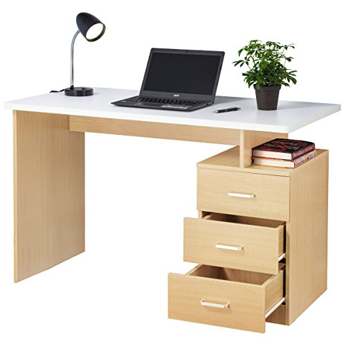 Fineboard Home Office Desk with 3 Drawers, Naturel/White