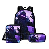 3D Fortnite Backpack School bags Student Laptop Minecraft Backpack Cartoon Games Lunch Bag Pencil Case Bags Set for Teen Boys Girls 3 pack