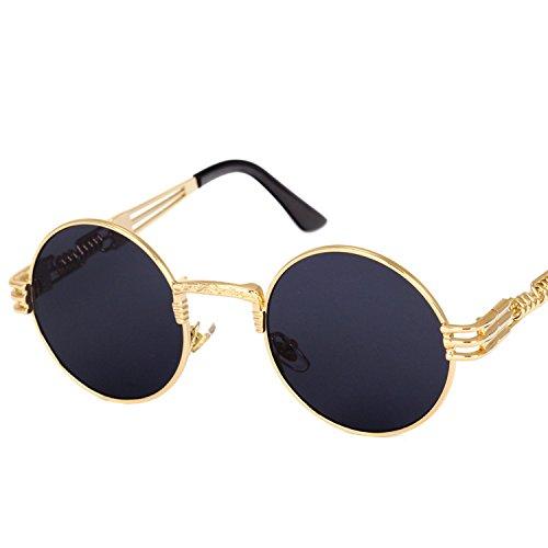 B dressy personality steam punk sunglasses round frame trend ladies sunglasses men's travel street shooting glasses,Silver frame gray polarizer (Halloween Crossfire)