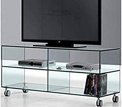 Mesa de TV de Cristal con Tres estantes de Cristal Transparente de Seguridad, Medidas 125 x 38 x 53 FAKA: Amazon.es: Electrónica