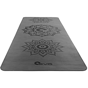 """Yoga EVO Premium Yoga & Pilates Mat 71""""x26"""" with Rubber Base - Super stable, non-slip surface that will stay put while you enter any Yoga pose"""