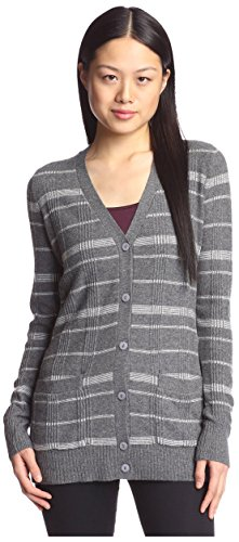 Cashmere Addiction Women's Plaid Cardigan Sweater, Flannel/Ivory, L