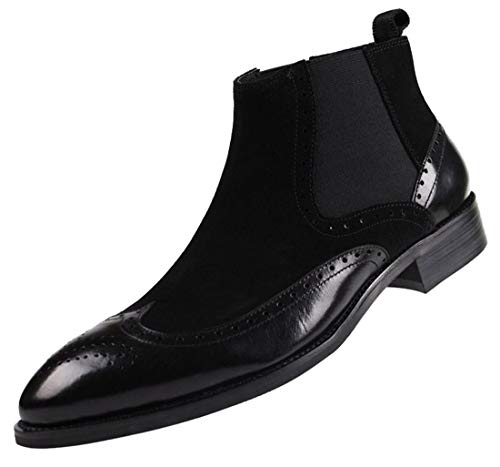 Santimon Mens Chelsea Dress Boots Leather Suede Wingtip Brogue Distinctive Slip on black 8.5 D(M)US