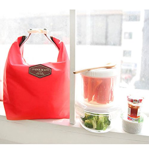 HighlifeS Lunch Bag Waterproof Thermal Fashion Cooler Insulated Lunch Box More Colors Portable Tote Storage Picnic Bags (Red) by HighlifeS (Image #3)