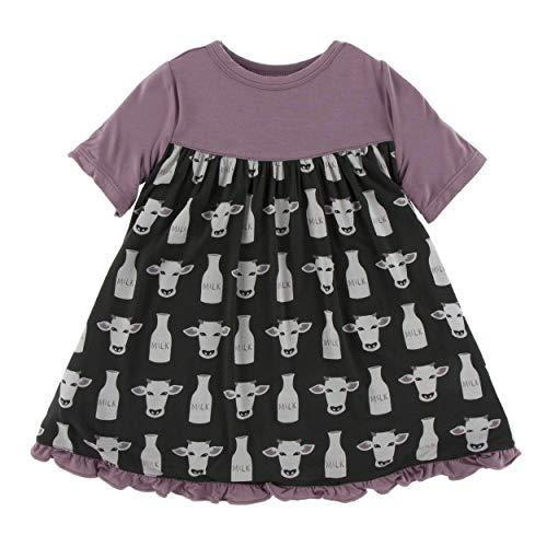 Kickee Pants Little Girls Print Classic Short Sleeve Swing Dress - Zebra Tuscan Cow, 18-24 Months - Purple Zebra Dress