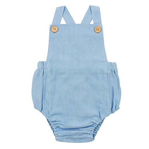 Simplee Kids Summer Sleeveless Baby Boy and Girl Linen Romper Blue for 0-3 Months Baby Unisex Outfit