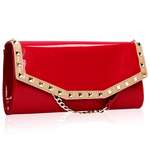 Xardi London Patent Leather Long Ladies Evening Bag Vintage Stud Envelope Clutch Handbag for Women Girl with Detachable Strap 120 cm - Fits Mobile Keys Cards Red