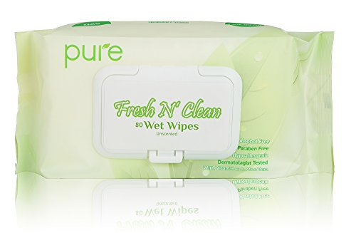 Fresh N Clean Pure Face, Hand and Baby Wet Wipes, Unscented and Alcohol Free, 20x16 cm, 80-Count (Pack of 3)