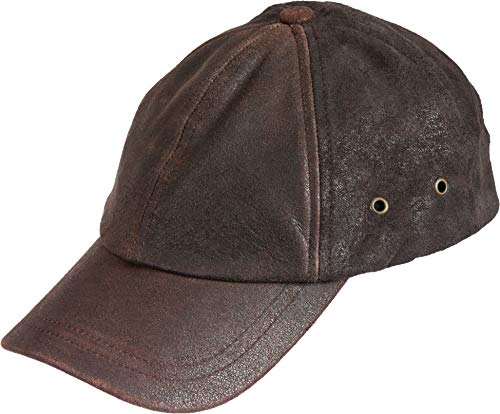 Stetson Men's Weathered Leather Ball Cap, Brown, One Size