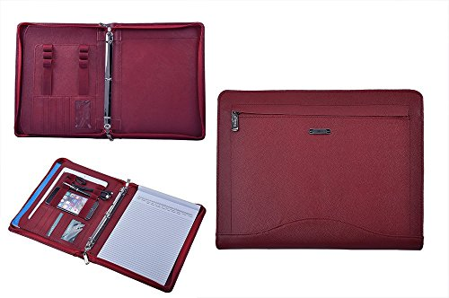Leather Binder Portfolio, Organizer Padfolio with 3-Ring Binder for Letter Paper and 11-inch Laptop,Red ()