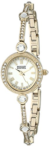 Badgley Mischka Women's BA/1350WMGB Swarovski Crystal Accented Gold-Tone Bangle Watch