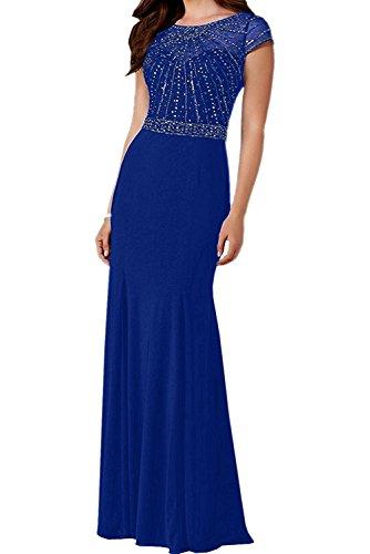 Chiffon Blau Royal La Lang Festlichkleider Brautmutterkleider Kurzarm Steine Braut Abendkleider Braun mit Damen Marie q7rnO7HY