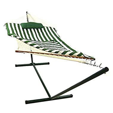 Sunnydaze Green and White Striped Rope Hammock with Stand, Pad and Pillow, 144 Inch Long x 52 Inch Wide