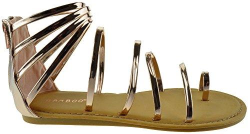 Bamboo Made 30S Womens Strappy Metallic Swirl Gladiator Rose Gold Rose Gold 5RAK1u