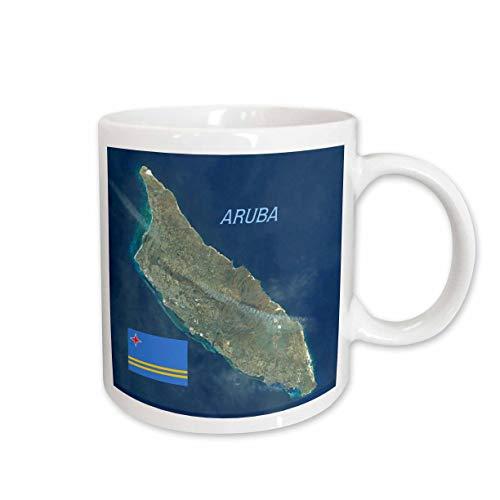 3dRose lens Art by Florene - Topo Maps And Flags - Image of Aerial Topo View With Flag Of Aruba - 15oz Mug (mug_306862_2)