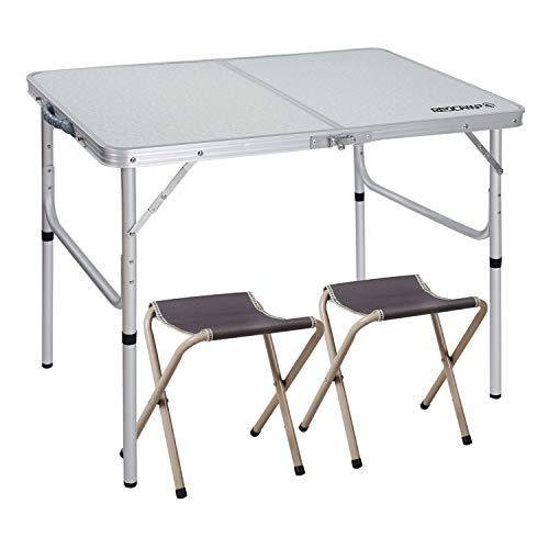 REDCAMP 3 Foot Aluminum Folding Table and Chairs Set, Adjustable Height Lightweight Portable Camping Table for Picnic Outdoor Indoor (White with 2 Stools)