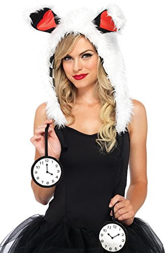 Leg Avenue Rabbit Furry Hood with Clock Ties Costume Accessory, White, One (White Rabbit Hood)