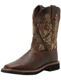 Justin Original Work Boots Men's Stampede Camo Waterproof Work Boot