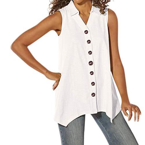 - Ballad Women's Button Down Sleeveless Shirts Summer Sexy Irregular Solid Blouse V Neck Casual Tank Tops White