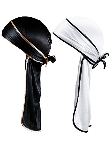 Gejoy Silky Durag Long Tail Headwraps Wide Straps Pirate Cap Smooth Hat (Color Set 2, 2 Pieces)