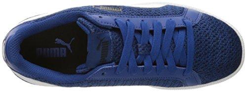 Puma Mens Smash Knit Fashion Sneaker True Blue/Puma White