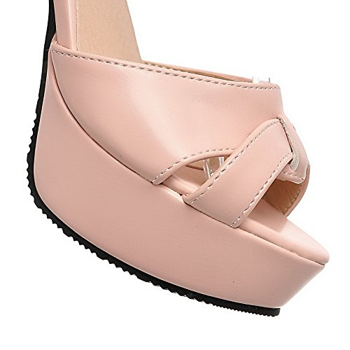 Sandals Solid High Toe Leather Patent Heels Open Womens Buckle AllhqFashion Pink 0qPO1pwznx
